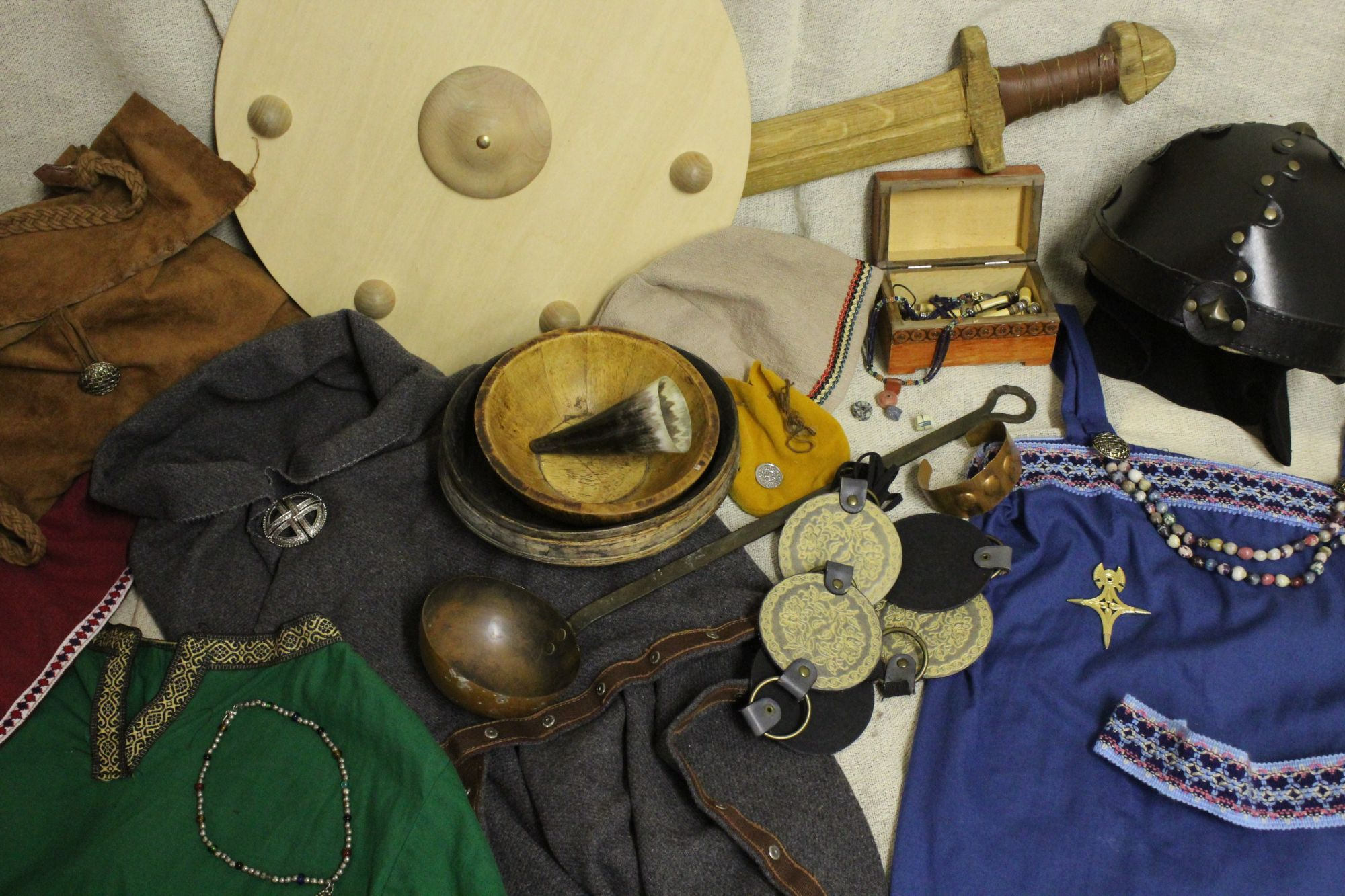 selection of colourful viking-based garments and props