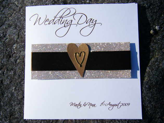 Wedding Card Chocolate Gold heart