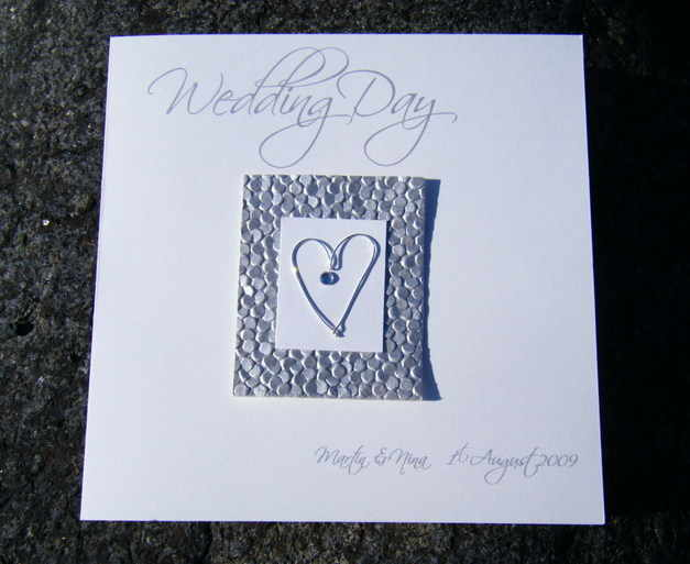 Wedding Card Silver Wire Heart