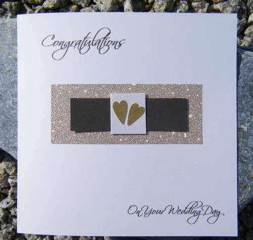 Wedding Card -Gold and Brown Love Heart