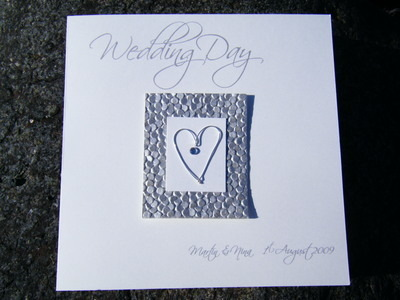 Wedding Card - Single Silver Heart