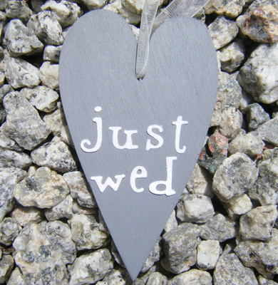 Just Wed Wooden Heart