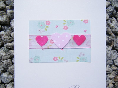 Birthday Card - Vintage Flowers & Hearts