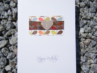 Birthday Card - Orla Kiely Gold Heart