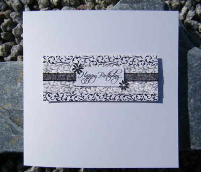 Birthday Card - Vintage Black & White Swirls