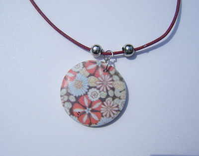 Floral Pendant on a Cotton Necklace