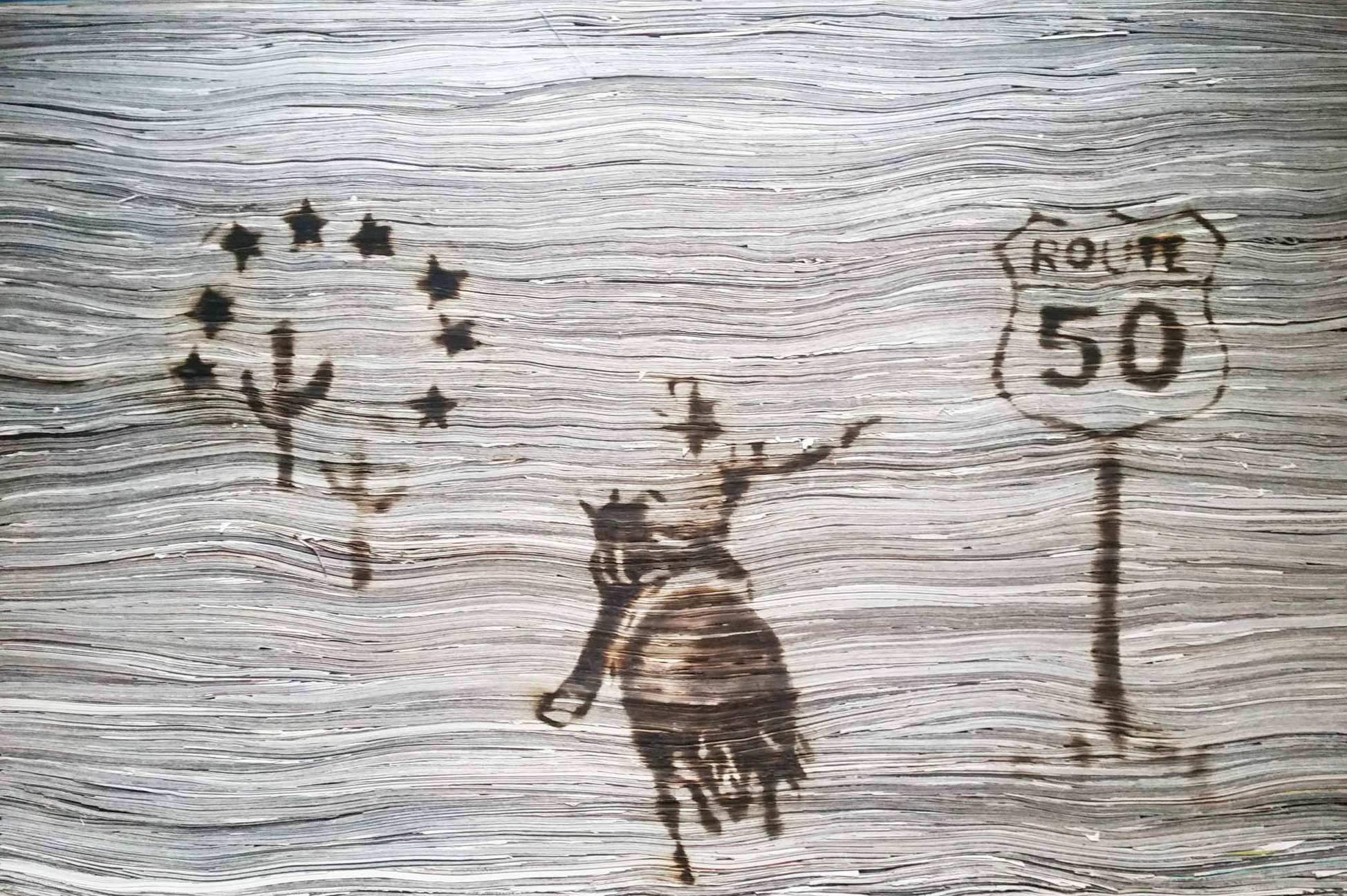 Newspaper artwork by Tracey Falcon. Strips of newspaper which look like wood with an image drawn onto it with a blowtorch. Title BREXAS - A LONE STAR STATE