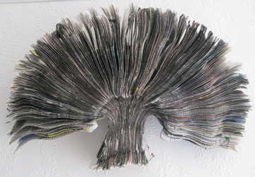 newsapaper artwork by Tracey Falcon, title FACE IT. newspaper cut into profile of face then fanned out to a tree shape