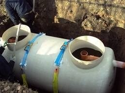 Class 1 Crystal septic tank being installed with a gravel backfill