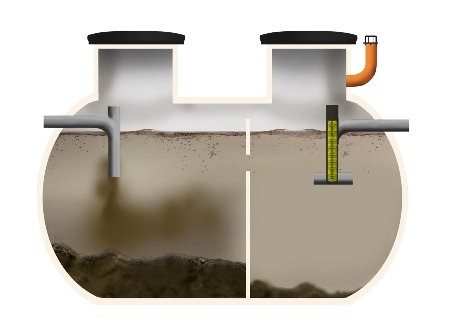Septic tank with a filter fitted