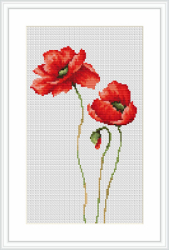 Three Poppies - Cross Stitch - Luca-S