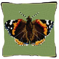 Red Admiral Butterfly Cross Stitch (printed canvas)
