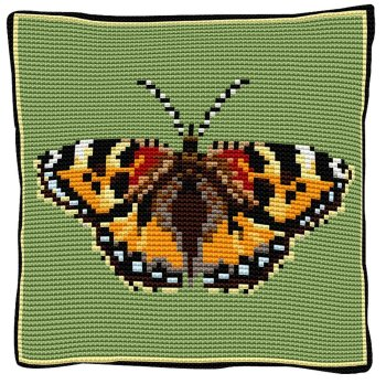 Tortoiseshell Butterfly Cross Stitch (printed canvas)