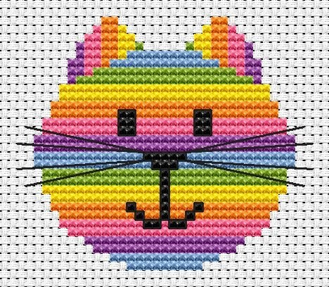 Cat Head Cross Stitch - Sew Simple