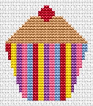 Striped Cupcake Cross Stitch - Sew Simple
