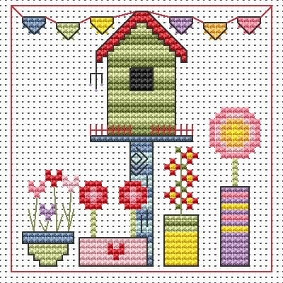 Funky Birdhouse Cross Stitch Card