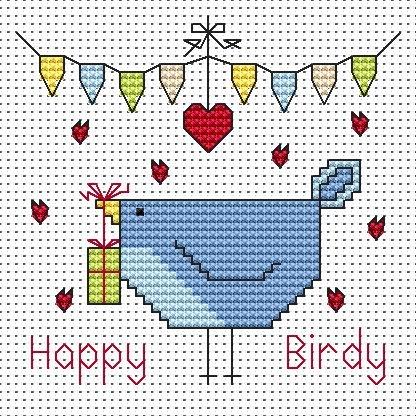 Happy Birdy (Birthday) Cross Stitch Card