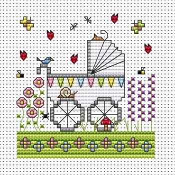 Garden Pram Cross Stitch Card (New Baby)