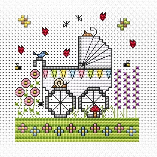 Garden Pram Cross Stitch Card (New Baby)