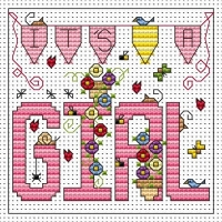 It's a Girl Cross Stitch Card