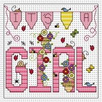 It's a Girl Cross Stitch Card