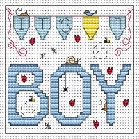 It's a Boy Cross Stitch Card