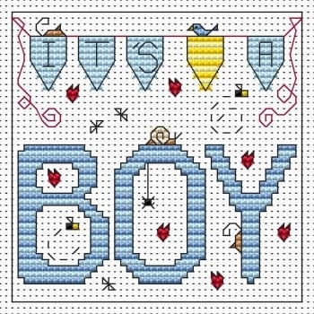 It's a Boy Cross Stitch Card