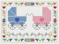 Welcome Twins Cross Stitch Card