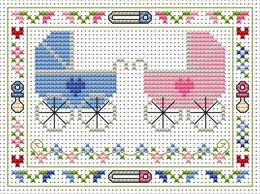 Welcome Twins Cross Stitch Card