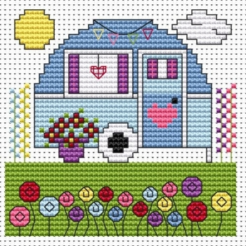 Vintage Caravan Cross Stitch Card