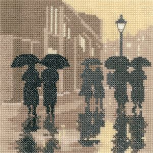 Brollies - Sepia Cross Stitch