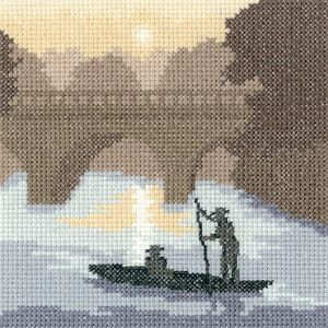 On The River - Sepia Cross Stitch