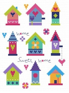 Pretty Birdhouses Cross Stitch