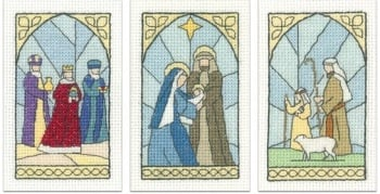 Stained Glass Christmas Cards - (Pack A) Set of 3