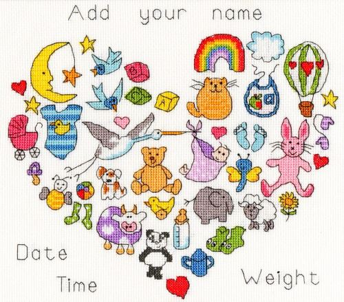 Baby Heart Birth Sampler - Bothy Threads