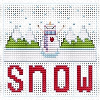Snowman Christmas Cross Stitch Card