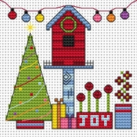 Funky Birdhouse Xmas Cross Stitch Card