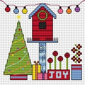 Funky Birdhouse Xmas Cross Stitch Card