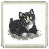 Black and White Kitten Coaster Kit