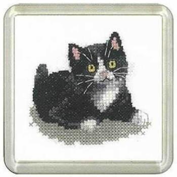 Black and White Kitten Coaster Kit