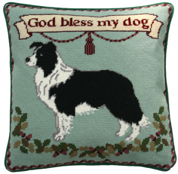 Border Collie Tapestry Kit (Plain Canvas)