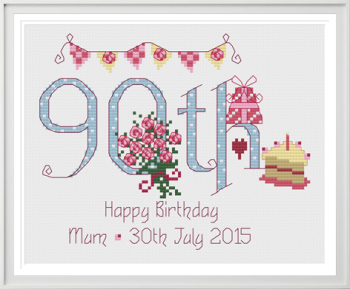 90th Birthday Sampler Kit - Nia Cross Stitch