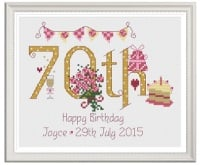 70th Birthday Sampler Kit - Nia Cross Stitch