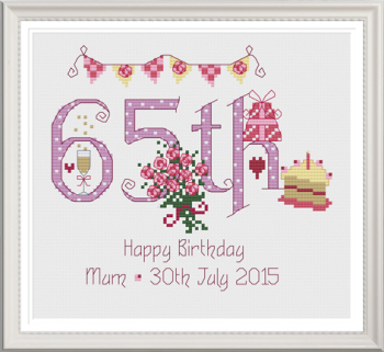 65th Birthday Sampler Kit - Nia Cross Stitch