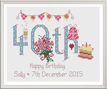 40th Birthday Sampler Kit - Nia Cross Stitch