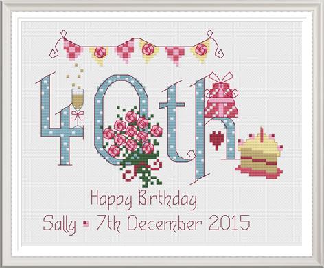 40th Birthday Sampler Kit - Nia Cross Stitch