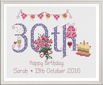 30th Birthday Sampler Kit - Nia Cross Stitch