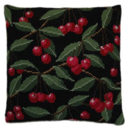 Cherries on Black Herb Pillow Tapestry