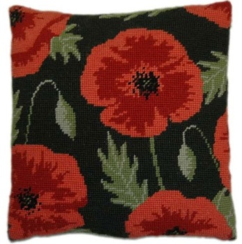 Wild Poppy Herb Pillow Tapestry