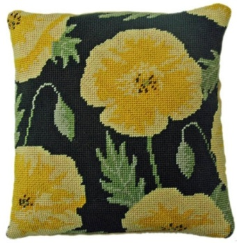 Yellow Poppy Herb Pillow Tapestry